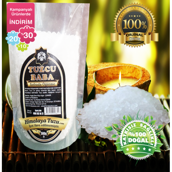 Beyaz Granül Himalaya Tuzu 84 mineralli  1kg (500gr X 2 paket)
